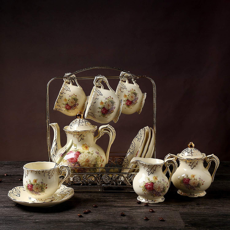 11 Piece European Royal Ivory Porcelain Tea Set,Vintage Luxury Coffee Set